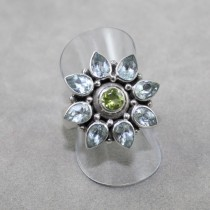 Blue Topaz with Peridot ring